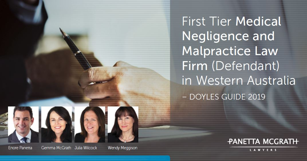 Panetta McGrath Lawyers ranked First Tier Medical Negligence & Malpractice Law Firm