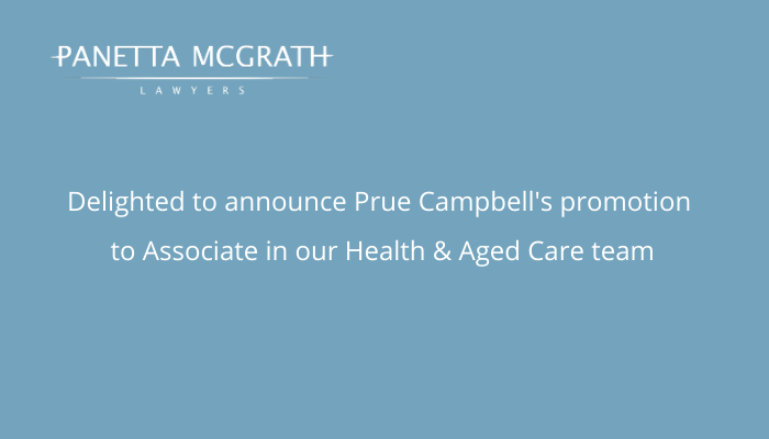 Panetta McGrath Lawyers congratulates Prue Campbell on her promotion